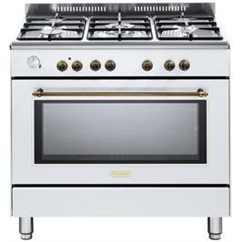 """תנור משולב כיריים מפואר 90 ס""""מ 8 תוכניות 5 להבות גז צבע לבן תוצרת DELONGHI דגם NDS951W"""