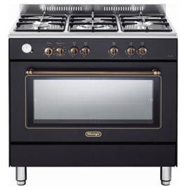 """תנור משולב כיריים מפואר 90 ס""""מ 8 תוכניות 5 להבות גז צבע שחור פחם תוצרת DELONGHI דגם NDS951AN"""
