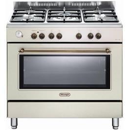 """תנור משולב כיריים מפואר 90 ס""""מ 8 תוכניות 5 להבות גז צבע אבן חול תוצרת DELONGHI דגם NDS951AV"""