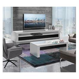 מערכת מזנון ושולחן לסלון בצבע לבן בגימור אפוקסי במראה יוקרתי מאוד LEONARDO דגם  Panda