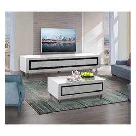 מערכת מזנון ושולחן בצבע לבן בגימור אפוקסי במראה יוקרתי מאוד לשידרוג הסלון LEONARDO דגם סהר