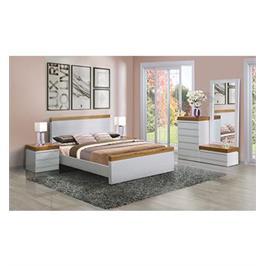 חדר שינה זוגי הכולל מיטה זוגית 2 שידות וקומודה עם מראה מבית LEONARDO דגם LEVANTIN
