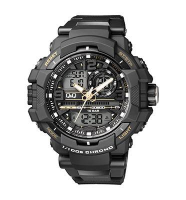 שעון יד אנלוגי דיגטלי לגבר עם סטופר שעון מעורר תאורה ותאריכון מבית Qַַַ&Q דגם QS-GW86J004Y