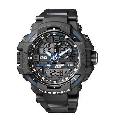 שעון אנלוגי דיגיטלי כחול ושחור עם סטופר שעון מעורר ותאורה מבית Q&Q דגם QS-GW86J003Y