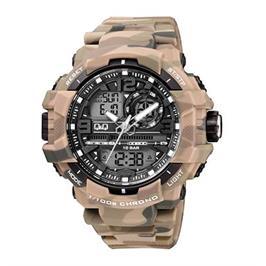 שעון אנלוגי דיגיטלי בצבעי הסוואה לגבר עם סטופר,שעון מעורר ותאורה מבית Q&Q דגם QS-GW86J005Y