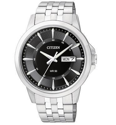 שעון פלדת אל חלד לגבר עם תאריכון DAY-DATE עמיד במים עד 50M מבית CITIZEN דגם CI-BF201151E