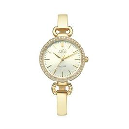 שעון יד מוזהב אופנתי לאישה מעוטר אבנים עם זכוכית ספיר קריסטל מבית ADI דגם 18-7099-333