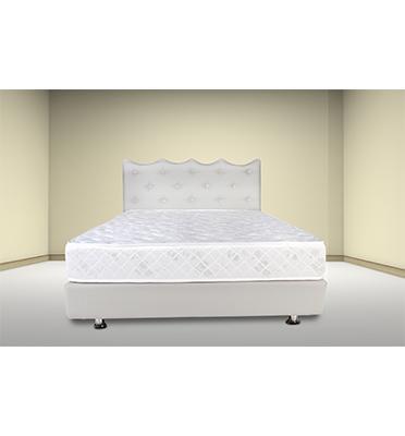 מיטה מרופדת בעלת ראש גלי מעוצב קפיטונג' עם כפתורי קריסטל מבית אולמפיה דגם 6002