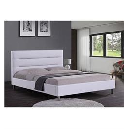 מיטה זוגית מעוצבת בריפוד דמוי עור עם בסיס מעץ מלא בעיצוב מודרני מבית HOME DECOR דגם פאן