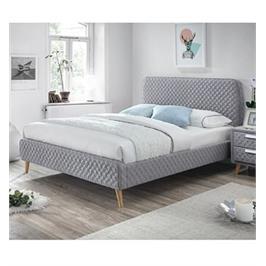 מיטה זוגית מרופדת עם בסיס עץ מלא בעיצוב מודרני מבית HOME DECOR דגם אסטריד 140