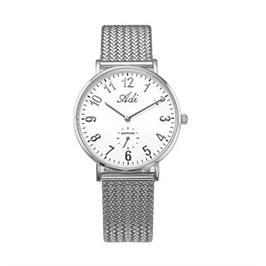 שעון יד כסוף אופנתי לאישה עם זכוכית ספיר קריסטל עמיד במים מבית ADI דגם 14-3049-186