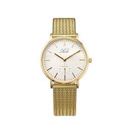 שעון יד אופנתי לאישה מוזהב עם זכוכית ספיר קריסטל עמיד במים מבית ADI דגם 14-3049-386