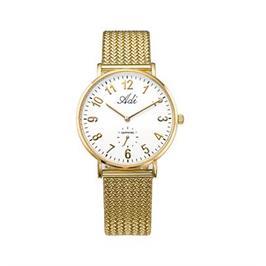 שעון יד אופנתי לאישה מוזהב עם זכוכית ספיר קריסטל עמיד במים מבית ADI דגם 14-3049-336