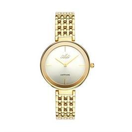 שעון אלגנטי מוזהב לאישה עם זכוכית ספיר עמיד במים עד 30 מטר מבית ADI דגם 19-7394-383