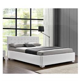 מיטה רחבה לנוער בריפוד דמוי עור לבן עם ארגז מצעים מעץ HOME DECOR דגם לורי 120