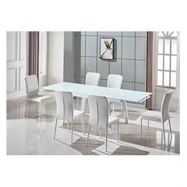 פינת אוכל שולחן+6 כסאות בסגנון מודרני בשילוב זכוכית וניקל מבית SIRSDESIGNS דגם 1602