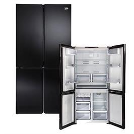 מקרר 4 דלתות No Frost זכוכית שחורה Multi Air Flow תוצרת BEKO דגם GN1406221GB