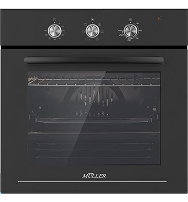 תנור בנוי מפואר שחור טורבו 6 תוכניות תוצרת MULLER דגם FBO-ADBB6326