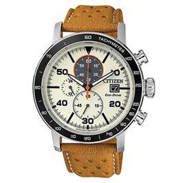 שעון כרונוגרף סולארי עם רצועת עור לגבר עמיד במים עד 100M מבית ADI דגם- CI-CA064116X