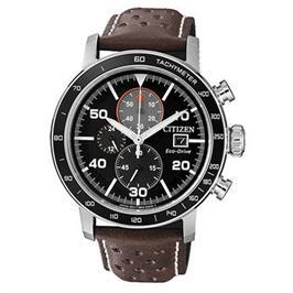 שעון כרונוגרף סולארי עם רצועת עור חומה לגבר עמיד במים עד 100M מבית ADI דגם CI-CA064124E