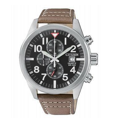 שעון כרונוגרף עם רצועת עור לגבר עמיד במים עד 100M מבית ADI דגם- CI-AN362001H