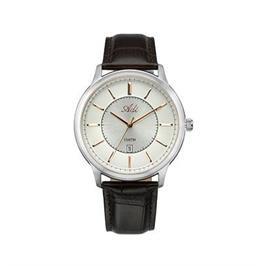 שעון יד אלגנטי לגבר עשוי פלדת אל חלד עם רצועת עור עמיד במים מבית ADI דגם 18-3264-441