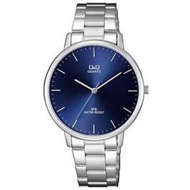 שעון יד אנלוגי לגבר כסוף עם לוח כחול עמיד במים עד 30M מבית ADI דגם QS-QZ00J212Y