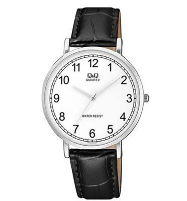 שעון אנלוגי כסוף עם רצועה שחורה לגבר עמיד במים מבית ADI דגם  QS-Q978J314Y