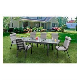 סט שולחן יוקרתי מתארך מזכוכית לבנה עם 6 כיסאות לגינה תוצרת AUSTRALIA CAMP דגם Nevada