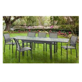 פינת אוכל עם כסאות יוקרתית אלומיניום שולחן מתארך זכוכית בועות מבית Australia Camp דגם SAVANA