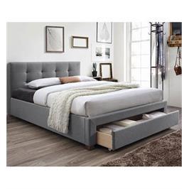 מיטה זוגית מרופדת עם בסיס מעץ מלא ומגירת אחסון מבית HOME DECOR דגם סרינה