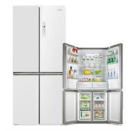 מקרר 4 דלתות 530 ליטר זכוכית לבן בעל פונקציית ה- Eco Mode תוצרת MIDEA דגם (HQ-690WEN(Gw