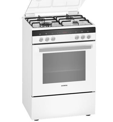 תנור אפיה משולב כיריים גז תא בנפח 66 ליטר בעיצוב לבן תוצרת SIEMENS דגם HX9R3IH20Y