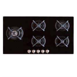 """כיריים גז 87 ס""""מ 5 מבערים מבער טורבו משטח זכוכית מחוסמת תוצרת SOL דגם FQ9GSW-394"""