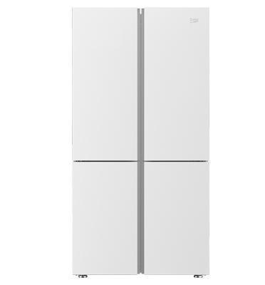 מקרר 4 דלתות מקפיא תחתון 580 ליטר NO FROST זכוכית לבנה תוצרת BEKO דגם GN1406221GW