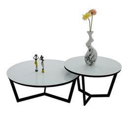 זוג שולחנות לסלון יוקרתיים עיצוב חדשני, זכוכית מחוסמת, צבע חלבי מבית BRADEX דגם ARMIN
