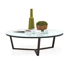 שולחן סלון עגול יקרתי עיצוב חדשני, זכוכית מחוסמת, צבע חלבי מבית BRADEX דגם ARMIN