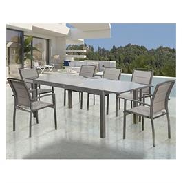 סט פינת אוכל מפואר הכולל שולחן ו-6 כסאות איכותיים לאירוח בגינה מבית Australia Camp דגם דלהי