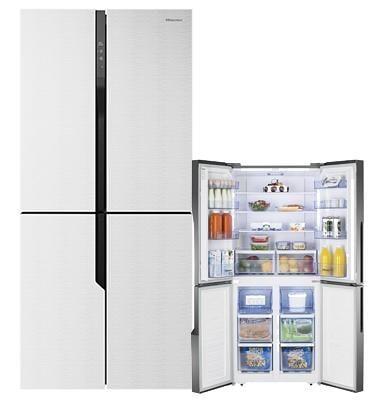 מקרר 4 דלתות מקפיא תחתון 427 ליטר זכוכית לבנה Multi Air Flow תוצרת Hisense דגם RQ56WGP