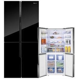 מקרר 4 דלתות מקפיא תחתון 427 ליטר זכוכית שחורה Multi Air Flow תוצרת Hisense דגם RQ56BG