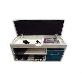 שידת התארגנות וישיבה בעלת שני מדפים לנעליים ושני תאי אחסון רב תכליתיים מבית HOMAX דגם רונית