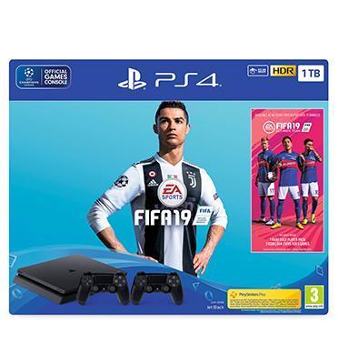 קונסולת פלייסטיישן PS4 TB1 SLIM + FIFA 19 כולל 2 בקרים דגם CUH-2216B-DSF19