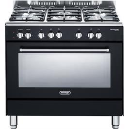 """תנור משולב כיריים מפואר 90 ס""""מ 8 תוכניות 5 להבות גז צבע שחור פחם תוצרת DELONGHI דגם NDS932AN"""