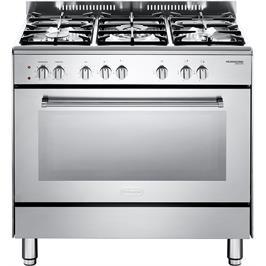 """תנור משולב כיריים מפואר 90 ס""""מ 8 תוכניות 5 להבות גז צבע נירוסטה תוצרת DELONGHI דגם NDS932X"""