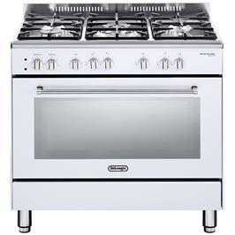 """תנור משולב כיריים מפואר 90 ס""""מ 8 תוכניות 5 להבות גז צבע לבן תוצרת DELONGHI דגם NDS932W"""