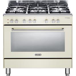 """תנור משולב כיריים מפואר 90 ס""""מ 8 תוכניות 5 להבות גז צבע וניל תוצרת DELONGHI דגם NDS932VN"""