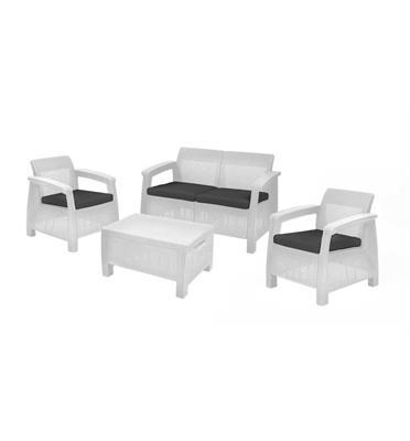 סט מערכת ישיבה ספה דו מושבית, 2 כורסאות יחיד ושולחן קפה המשמש לאחסון מבית כתר פלסטיק דגם קורפו