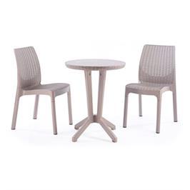 """סט ריהוט גן מודרני ואלגנטי + 2 כיסאות במראה עץ קלוע ושולחן עגול מבית כתר פלסטיק בע""""מ דגם ביסטרו"""