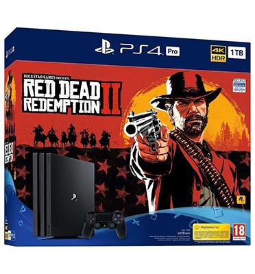 קונסולה פלייסטיישן PS4 PRO 1TB+RED DEAD REDEMPTION בקר אחד!דגם CUH-7216B-RDR2