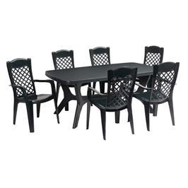 סט שולחן בולטימור למרפסת ולגינה כולל שולחן ו 6 כיסאות מבית כתר פלסטיק דגם Baltimore Liron Set